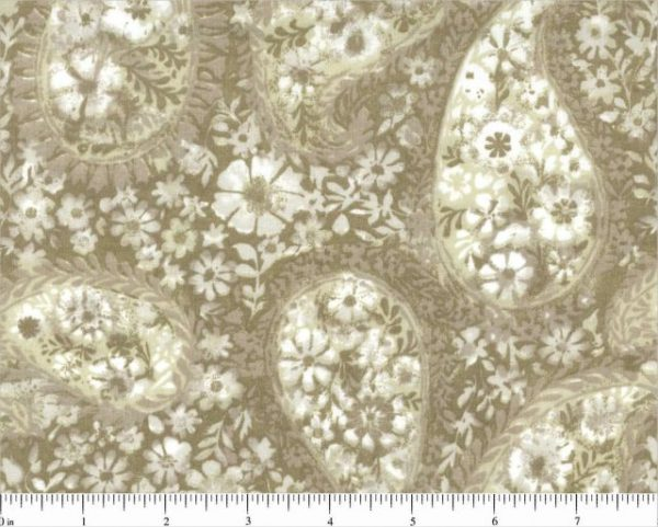 "BD-49374-A11 Parchment Floral Paisley Choice 108"" Quilt Backing"