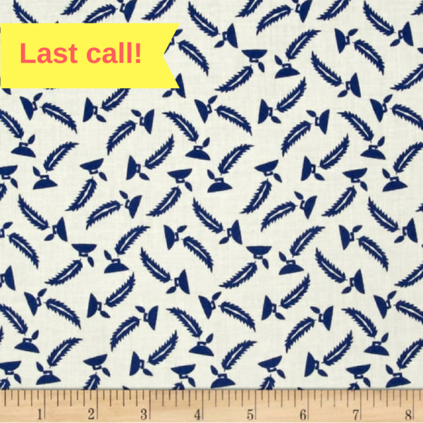 57052-3890718 Cream with Blue Feather Pens Extra Wide Quilt Backing