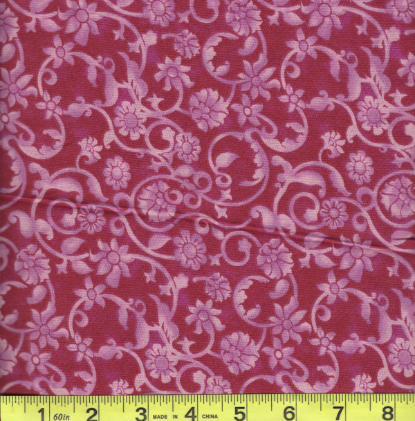 """BD-47604-1506 Dark Pink Tonal Scroll 108"""" Extra Wide Quilt Backing"""